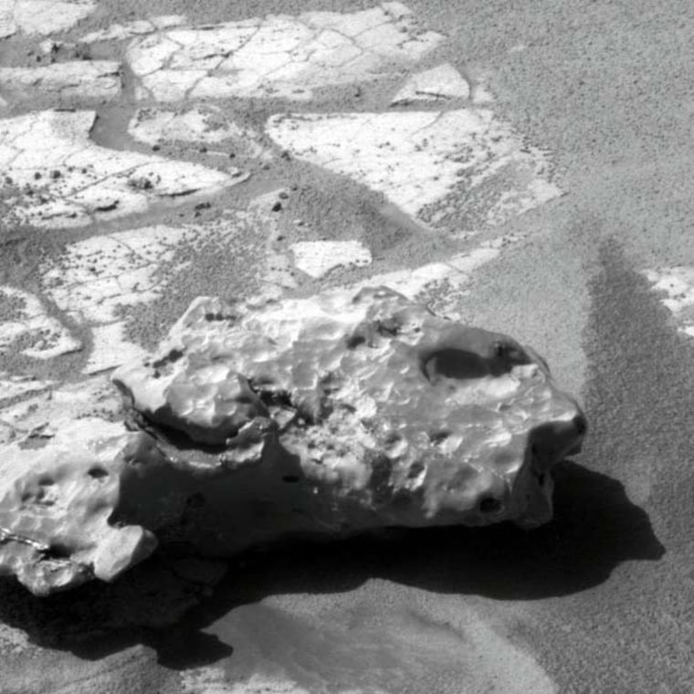 NASA's Mars rover Opportunity took this close-up photo of an iron meteorite on Mars. The meteorite is called Oilean Ruaidh and is the fifth iron meteorite on Mars discovered by the rover.